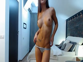 Sexy Young Brunette Strips And Used A Dildo For Her Pussy