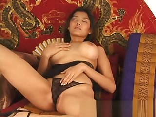 Big boobs asian stunner dildoing hairy part3