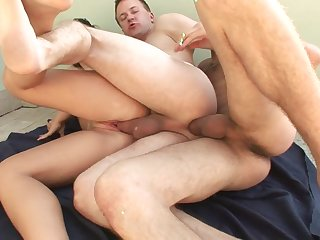 Bisexual fuck train with cocks in the ass and cunt