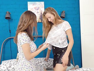 Pretty teen lesbians Elison and Kecy Hill play with a huge dildo