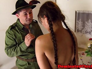 Smalltit teen distressing by rough soldier
