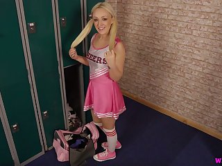 Pigtailed cheerleader styled Amber Deen is ready to wank and to swell up fake cock