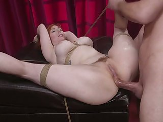 Awesome tied up busty redhead Lauren Phillips is hammered ayatollah style