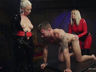 Maitresse Madeline Marlowe and three more girl decide round punish a dude just about hard sex