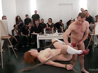 Pioneering BDSM fetish less kinky orgy for the redhead