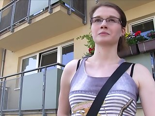Random girl Julie Cloud-cuckoo-land with glasses gets fucked for money