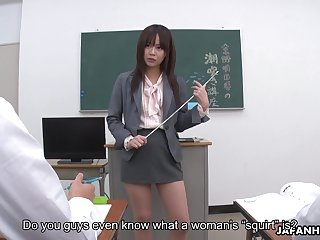 Young Japanese teacher Asuka Kyono is practicing squirting with her students