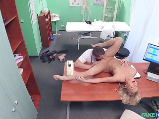 Doctor's heavy locate suits this blonde's zeal for porn