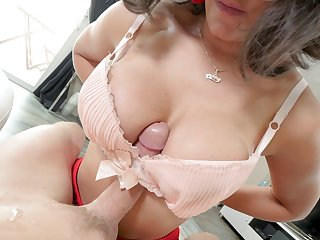 Shy bruntte Penny Barber encircling glasses pleasures him encircling a blowjob