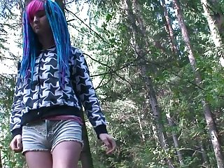 Blue haired succeed chick is ready to piss outdoors in rub-down the boonies