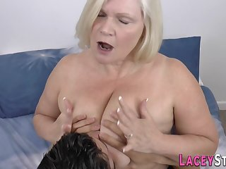 Busty plump grandmother gobbles load of shit