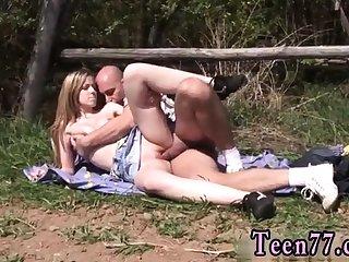 Teen creampie cock Abby fellating man meat outdoor