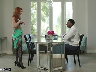 Redhead mature Lacy Lennon in stockings having sex with a BBC