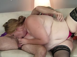 A pleasant time with the chubby ass slut after she sucks gumshoe hard