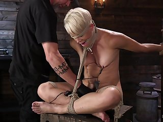 Small unaffected tits Helena Locke constrained up and tortured regarding sex toys