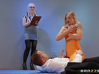 Hot pain in the neck pornstar Alison Avery rides a rock hard gumshoe on the floor
