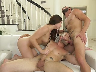 Historic steamy bisexual MMF threesome with exact Keira Croft