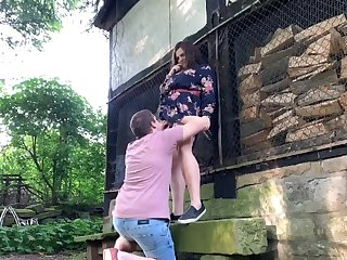 Chubby girlfriend and her boyfriend having a lot of fun outdoors relating to public greens