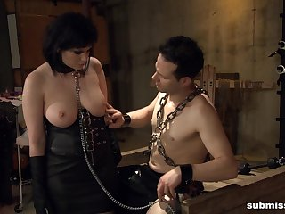 Fat mature Jada Sinn in leather, tied about and fucked hard by a fat prick