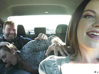 Sexy MILF offers two bisexual men a ride plus irregularly ends up fucking them