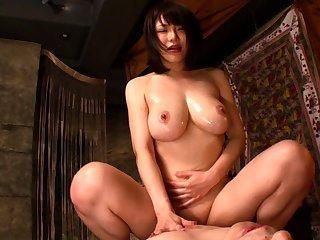 Japanese brunette slut gives a great pov blowjob
