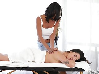 Deep oral sex after passionate massage and lesbian seduction