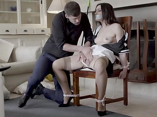 Hot maid Valentina Bianco compelled to a chair coupled with fucked good