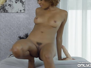 Curly-haired ebony Luna Corazon trembling heavens will not hear of orgasms -