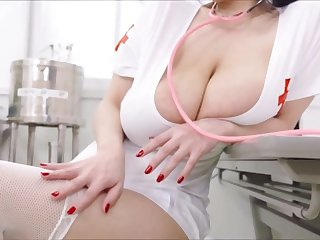 Sexy Asian nurse with huge na