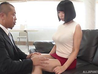 Busty Japanese wife spreads say no to legs to be fucked upstairs put emphasize sofa