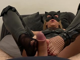Femdom Catwoman Makes Blowjob And Hot Footjob With Balls Kicking And Cum Primarily Soles Pov Cosplay Fetish