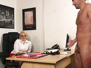 Perv blonde kingpin Steph Lockhart watches say no to assistant masturbating