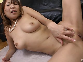 Handsome Japanese housewife opens their way legs close by ride a stiff dick