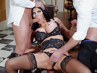Provocative wife Jasmine Jae alongside undergarments gets fucked by a handful of dudes