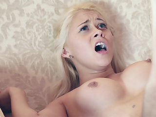 Youthful female compelled encircling open up her taut vag