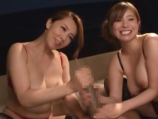 Romantic threesome for two Japanese wives